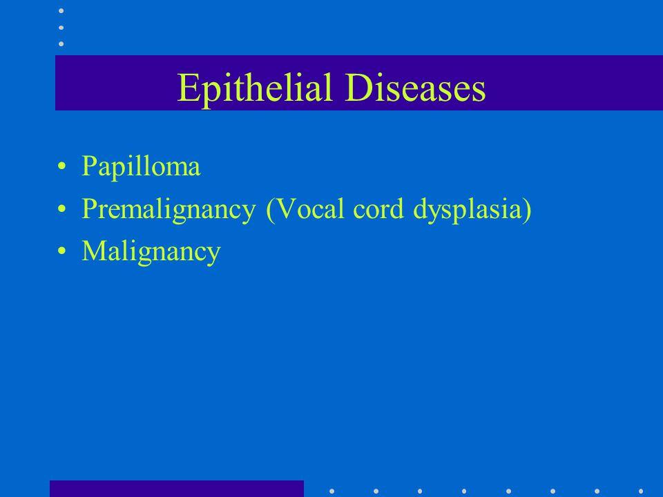 Epithelial Diseases Papilloma Premalignancy (Vocal cord dysplasia) Malignancy