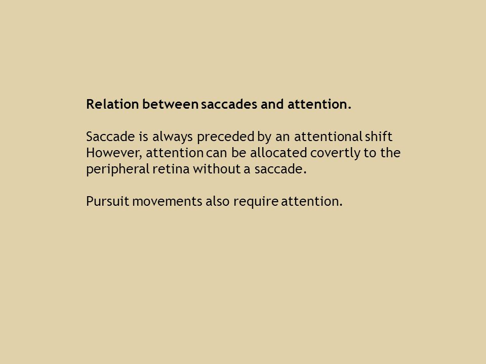 Relation between saccades and attention.