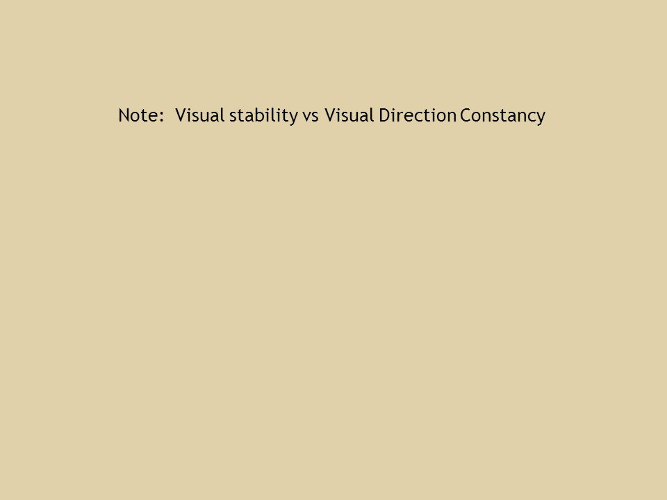 Note: Visual stability vs Visual Direction Constancy