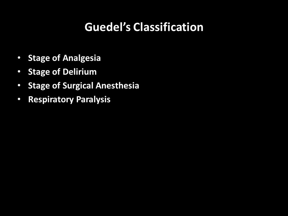 Guedel's Classification Stage of Analgesia Stage of Delirium Stage of Surgical Anesthesia Respiratory Paralysis