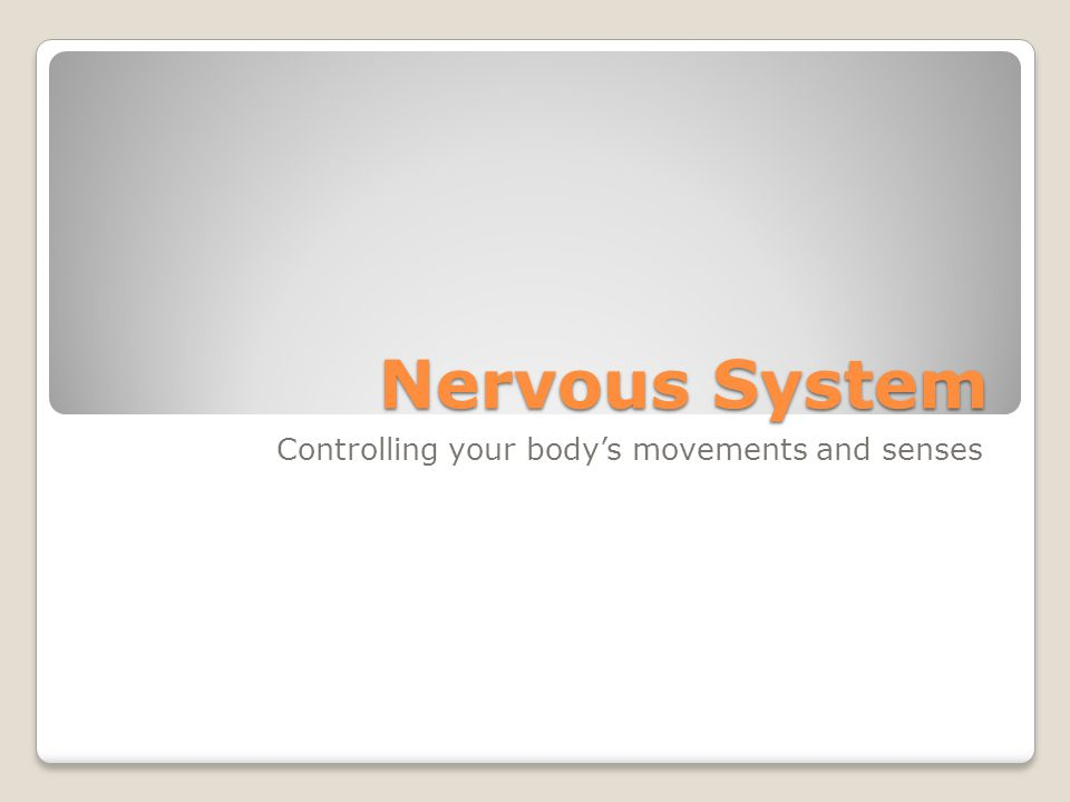 Nervous System Controlling your body's movements and senses