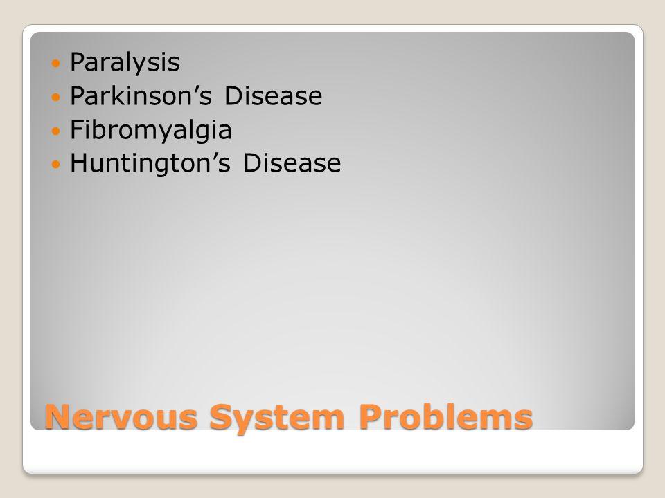Nervous System Problems Paralysis Parkinson's Disease Fibromyalgia Huntington's Disease
