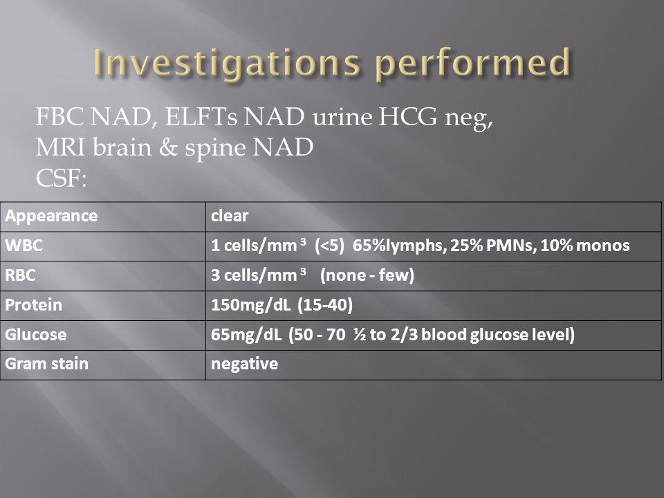 FBC NAD, ELFTs NAD urine HCG neg, MRI brain & spine NAD CSF: Appearanceclear WBC1 cells/mm 3 (<5) 65%lymphs, 25% PMNs, 10% monos RBC3 cells/mm 3 (none