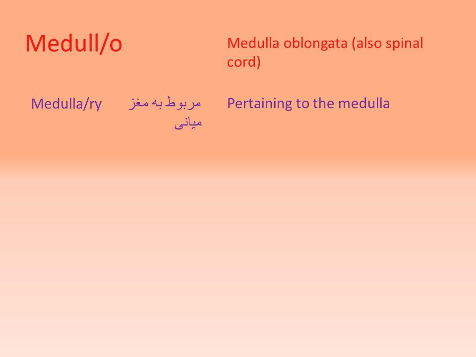 Medull/o Medulla oblongata (also spinal cord) Medulla/ry مربوط به مغز میانی Pertaining to the medulla