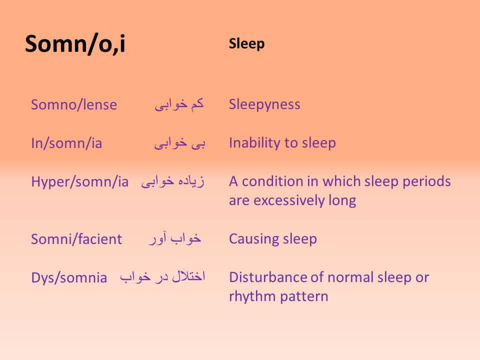 Somn/o,i Sleep Somno/lense کم خوابی In/somn/ia بی خوابی Hyper/somn/ia زیاده خوابی Somni/facient خواب آور Dys/somnia اختلال در خواب Sleepyness Inability to sleep A condition in which sleep periods are excessively long Causing sleep Disturbance of normal sleep or rhythm pattern
