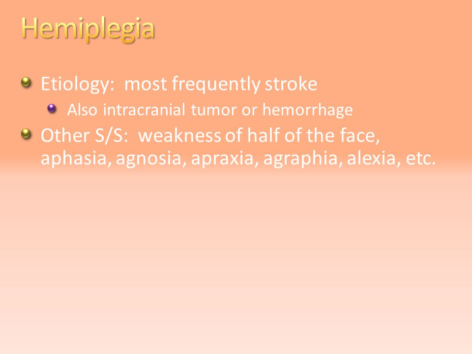 Etiology: most frequently stroke Also intracranial tumor or hemorrhage Other S/S: weakness of half of the face, aphasia, agnosia, apraxia, agraphia, alexia, etc.