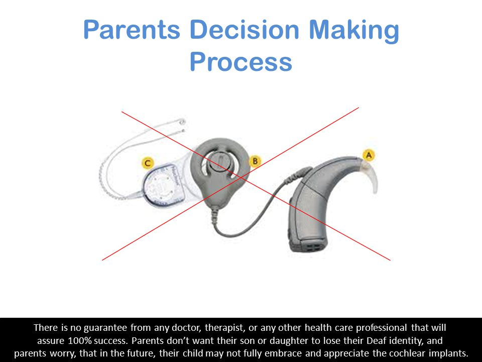 Parents Decision Making Process The main reason parents decide against cochlear implantation is that there is no guarantee about the level of benefit