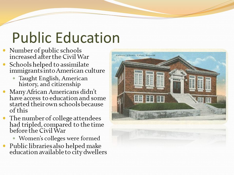 Public Education Number of public schools increased after the Civil War Schools helped to assimilate immigrants into American culture Taught English, American history, and citizenship Many African Americans didn't have access to education and some started their own schools because of this The number of college attendees had tripled, compared to the time before the Civil War Women's colleges were formed Public libraries also helped make education available to city dwellers