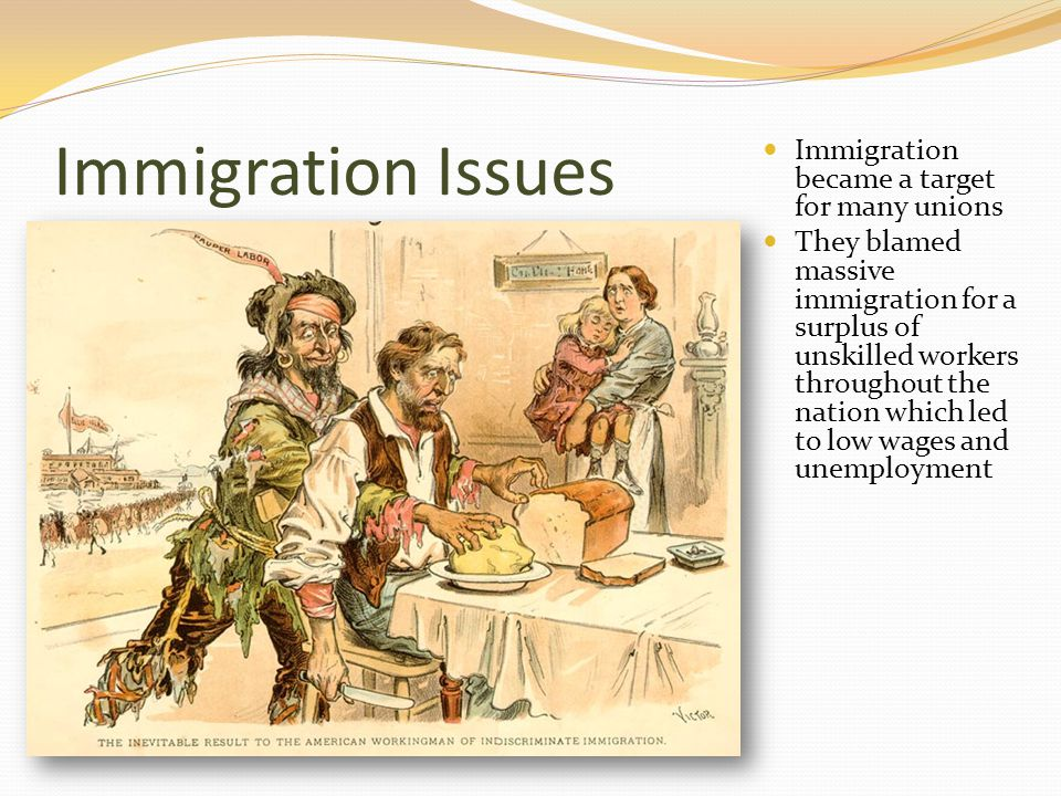 Immigration Issues Immigration became a target for many unions They blamed massive immigration for a surplus of unskilled workers throughout the nation which led to low wages and unemployment