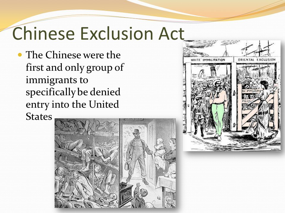 Chinese Exclusion Act The Chinese were the first and only group of immigrants to specifically be denied entry into the United States