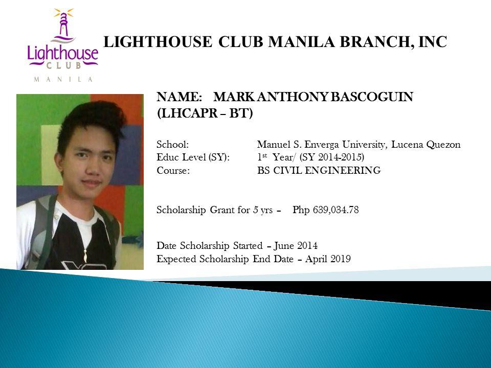 NAME: MARK ANTHONY BASCOGUIN (LHCAPR – BT) School: Manuel S.