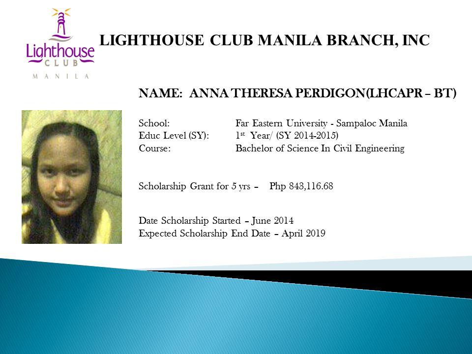 NAME: ANNA THERESA PERDIGON(LHCAPR – BT) School: Far Eastern University - Sampaloc Manila Educ Level (SY): 1 st Year/ (SY 2014-2015) Course: Bachelor