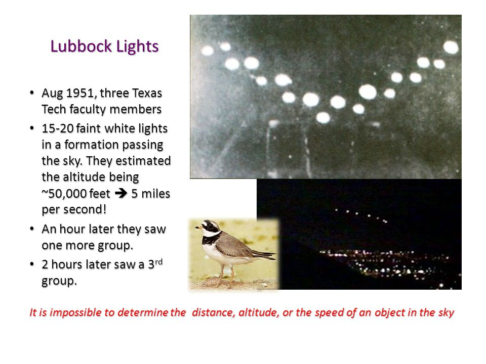 Lubbock Lights Aug 1951, three Texas Tech faculty members Aug 1951, three Texas Tech faculty members 15-20 faint white lights in a formation passing the sky.