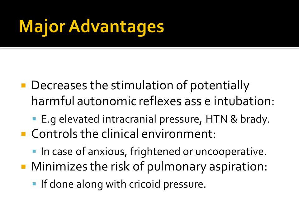  Decreases the stimulation of potentially harmful autonomic reflexes ass e intubation:  E.g elevated intracranial pressure, HTN & brady.  Controls