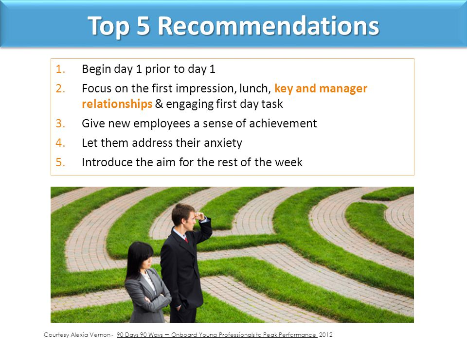 Top 5 Recommendations 1.Begin day 1 prior to day 1 2.Focus on the first impression, lunch, key and manager relationships & engaging first day task 3.Give new employees a sense of achievement 4.Let them address their anxiety 5.Introduce the aim for the rest of the week Courtesy Alexia Vernon - 90 Days 90 Ways – Onboard Young Professionals to Peak Performance 2012