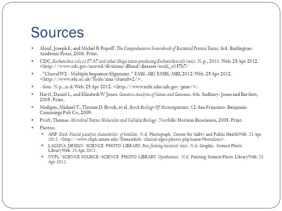 Sources Alouf, Joseph E, and Michel R Popoff.