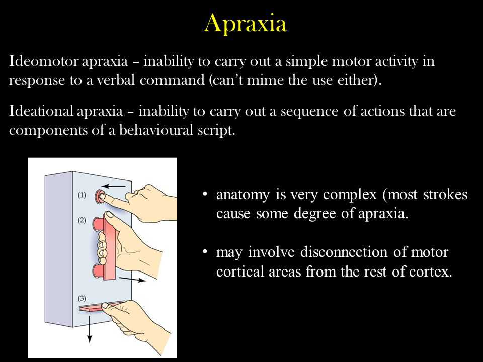 Apraxia Ideomotor apraxia – inability to carry out a simple motor activity in response to a verbal command (can't mime the use either).