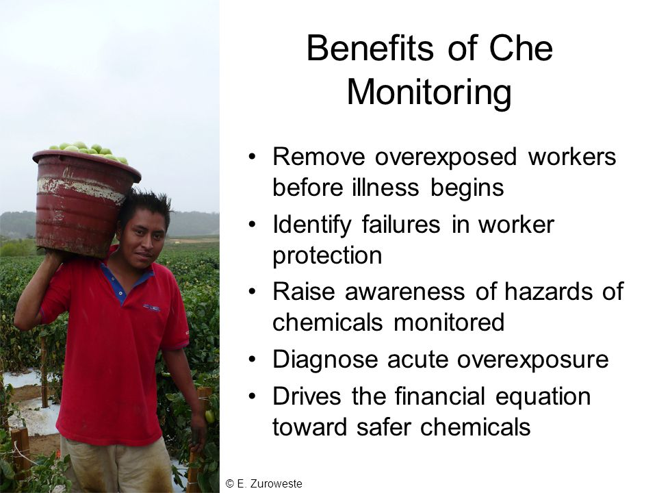 Benefits of Che Monitoring Remove overexposed workers before illness begins Identify failures in worker protection Raise awareness of hazards of chemicals monitored Diagnose acute overexposure Drives the financial equation toward safer chemicals © E.