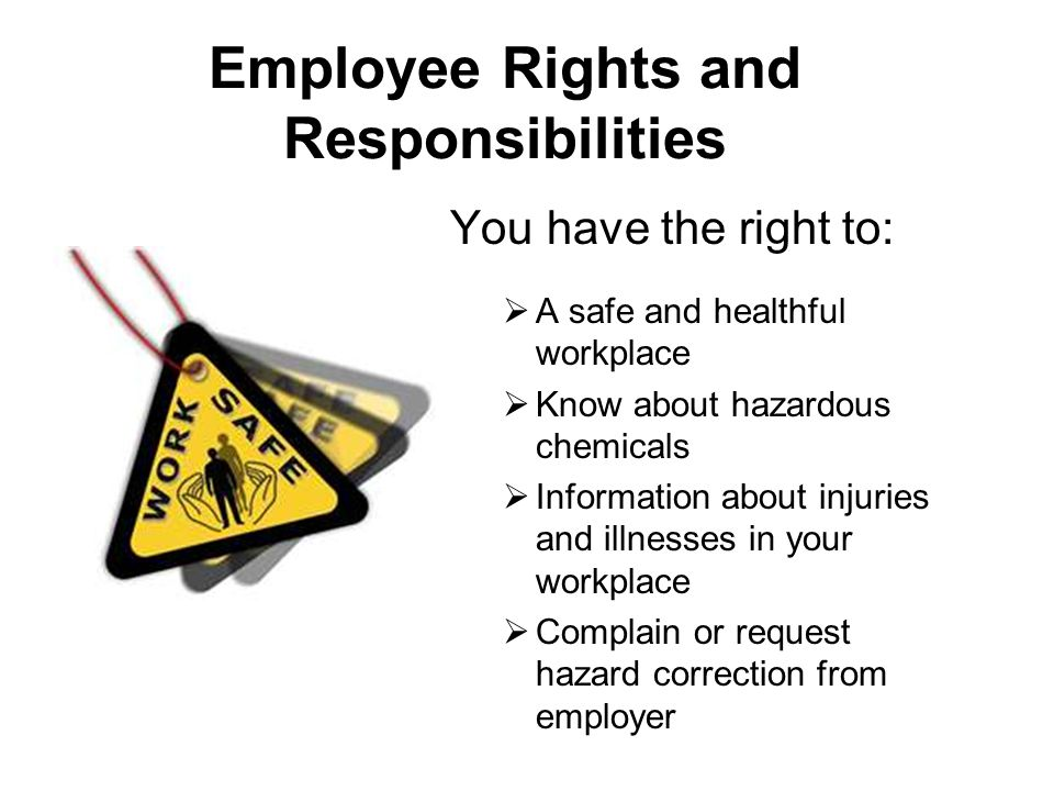 You have the right to:  A safe and healthful workplace  Know about hazardous chemicals  Information about injuries and illnesses in your workplace  Complain or request hazard correction from employer Employee Rights and Responsibilities