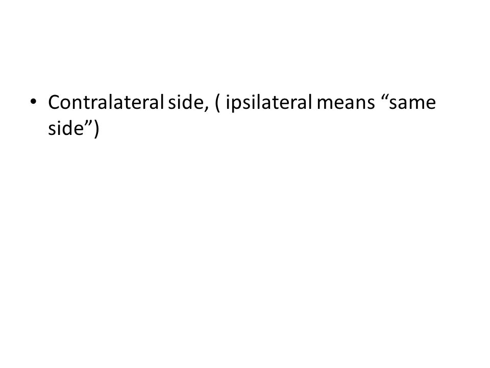 Contralateral side, ( ipsilateral means same side )