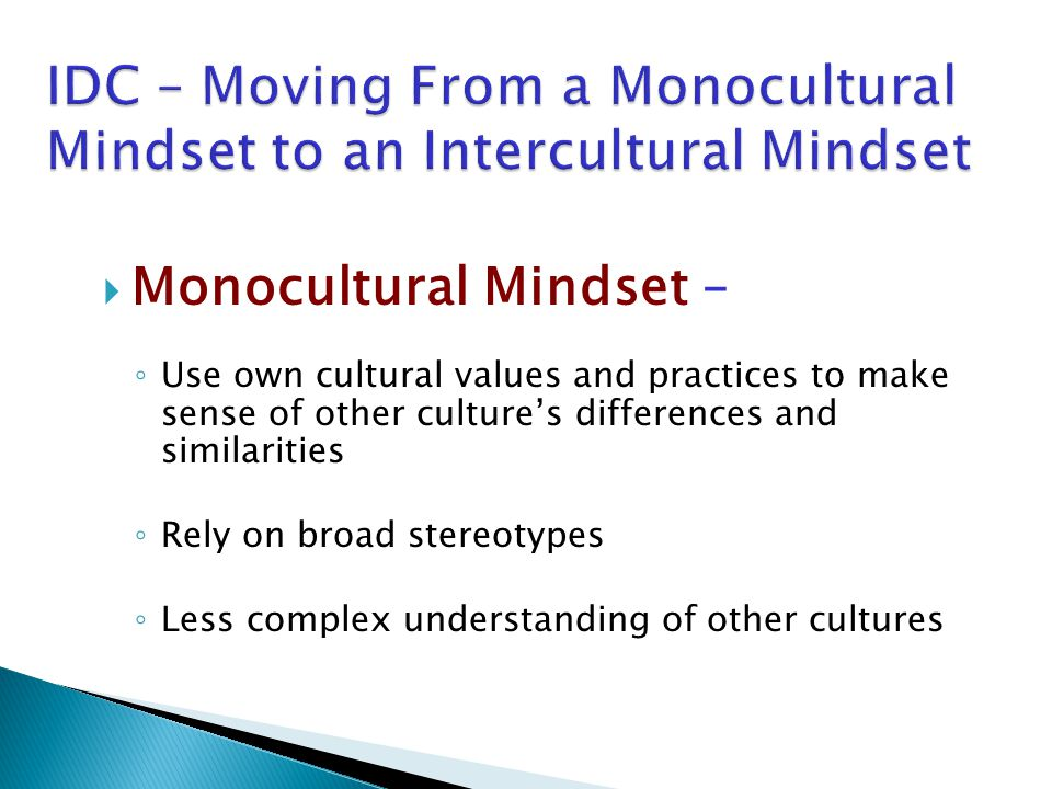  Monocultural Mindset – ◦ Use own cultural values and practices to make sense of other culture's differences and similarities ◦ Rely on broad stereotypes ◦ Less complex understanding of other cultures