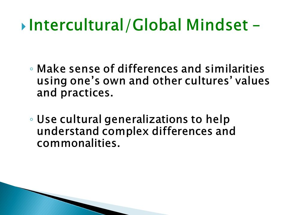  Intercultural/Global Mindset – ◦ Make sense of differences and similarities using one's own and other cultures' values and practices.