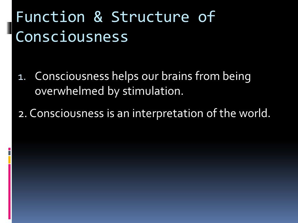 Function & Structure of Consciousness 1.