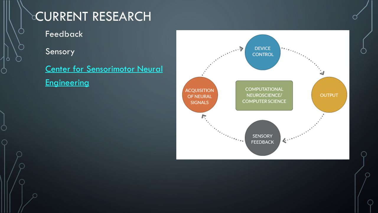 CURRENT RESEARCH Feedback Sensory Center for Sensorimotor Neural Engineering