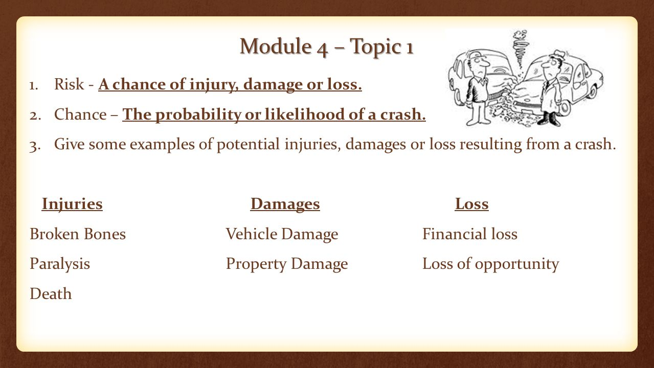 Module 4 – Topic 1 1.Risk - A chance of injury, damage or loss.