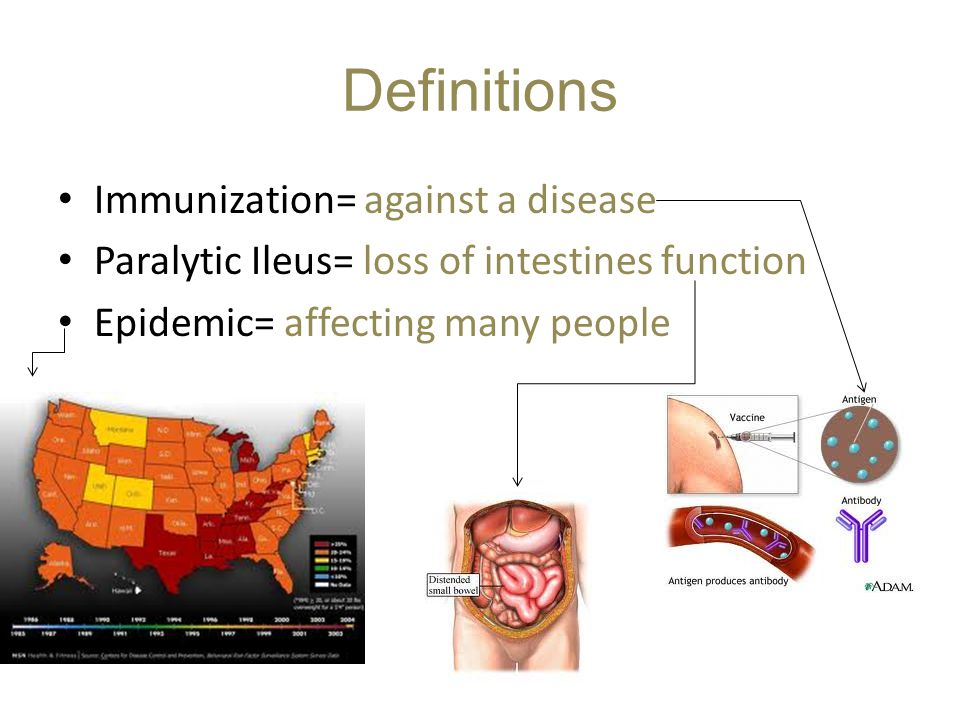 Definitions Immunization= against a disease Paralytic Ileus= loss of intestines function Epidemic= affecting many people