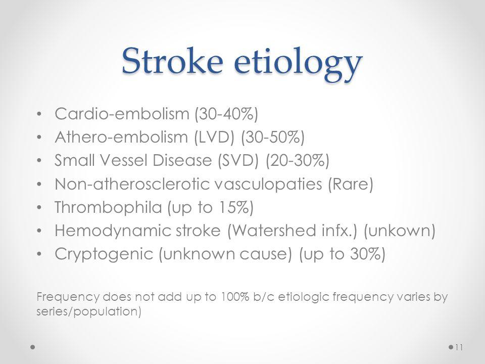 Stroke etiology Cardio-embolism (30-40%) Athero-embolism (LVD) (30-50%) Small Vessel Disease (SVD) (20-30%) Non-atherosclerotic vasculopaties (Rare) T