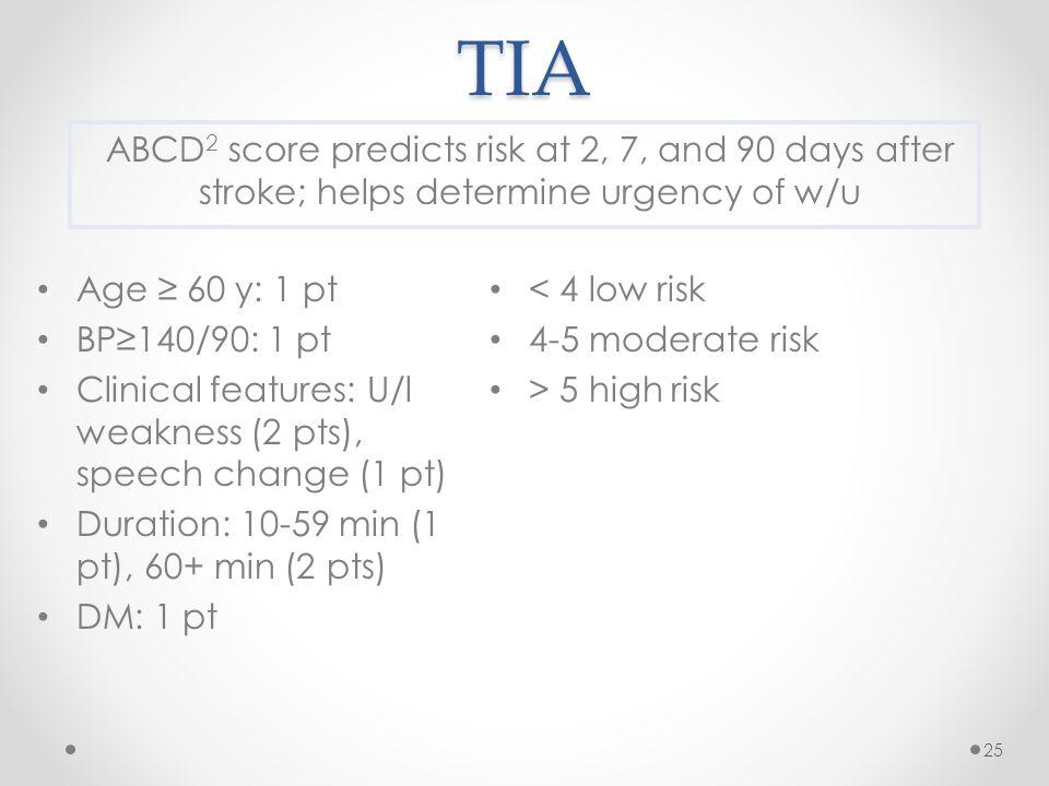 TIA Age ≥ 60 y: 1 pt BP≥140/90: 1 pt Clinical features: U/l weakness (2 pts), speech change (1 pt) Duration: 10-59 min (1 pt), 60+ min (2 pts) DM: 1 p