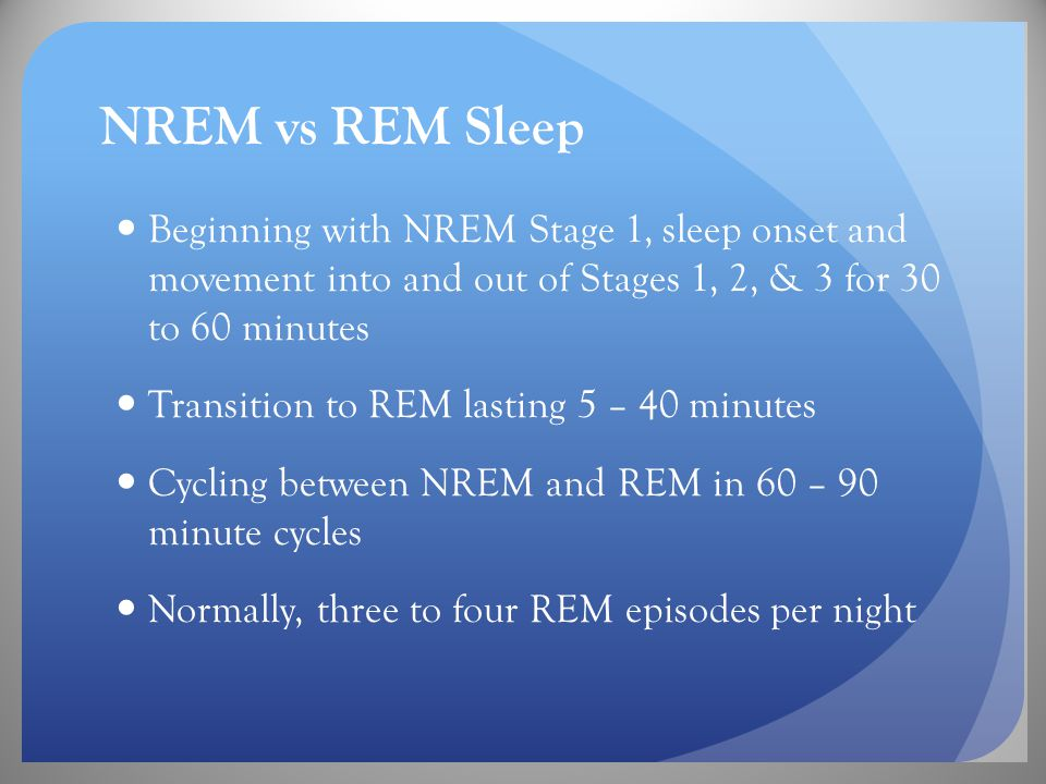 NREM vs REM Sleep Beginning with NREM Stage 1, sleep onset and movement into and out of Stages 1, 2, & 3 for 30 to 60 minutes Transition to REM lasting 5 – 40 minutes Cycling between NREM and REM in 60 – 90 minute cycles Normally, three to four REM episodes per night