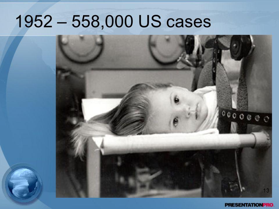 1952 – 558,000 US cases 13
