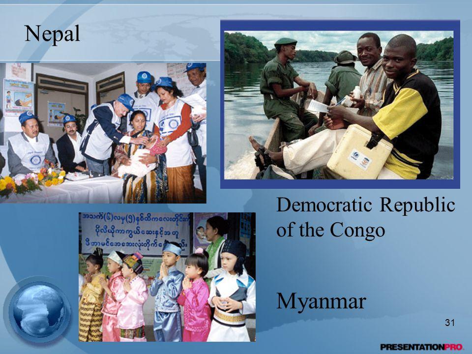 Nepal Democratic Republic of the Congo Myanmar 31