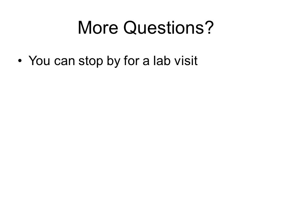 More Questions? You can stop by for a lab visit