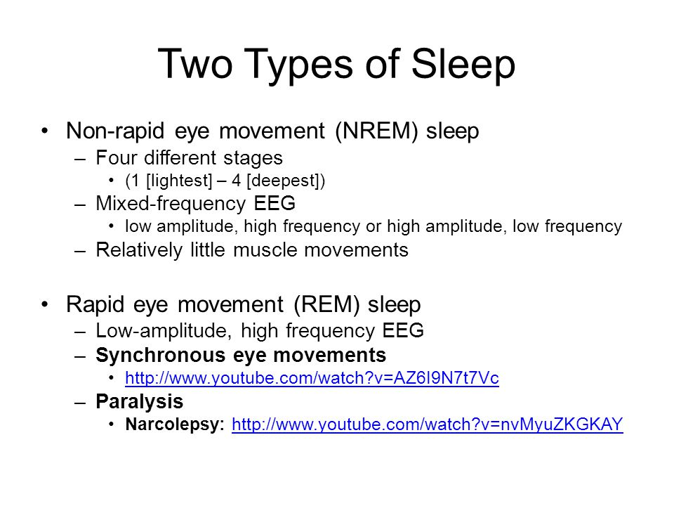 Two Types of Sleep Non-rapid eye movement (NREM) sleep –Four different stages (1 [lightest] – 4 [deepest]) –Mixed-frequency EEG low amplitude, high fr