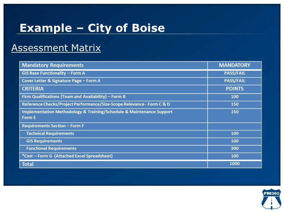 Example – City of Boise Assessment Matrix
