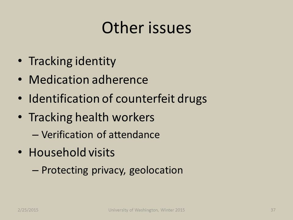 Other issues Tracking identity Medication adherence Identification of counterfeit drugs Tracking health workers – Verification of attendance Household