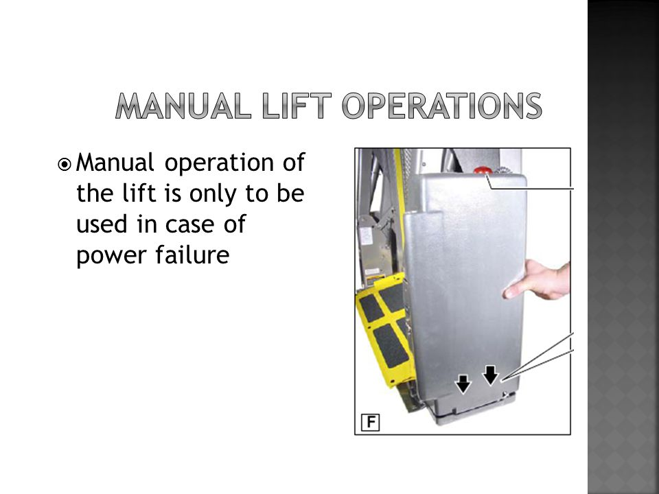  Manual operation of the lift is only to be used in case of power failure
