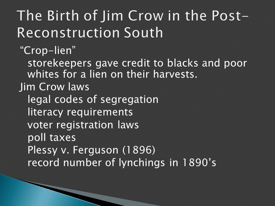 Crop-lien storekeepers gave credit to blacks and poor whites for a lien on their harvests.