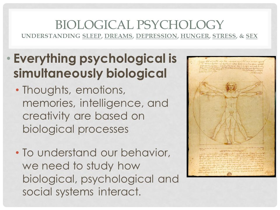 BIOLOGICAL PSYCHOLOGY UNDERSTANDING SLEEP, DREAMS, DEPRESSION, HUNGER, STRESS, & SEX Everything psychological is simultaneously biological Thoughts, e