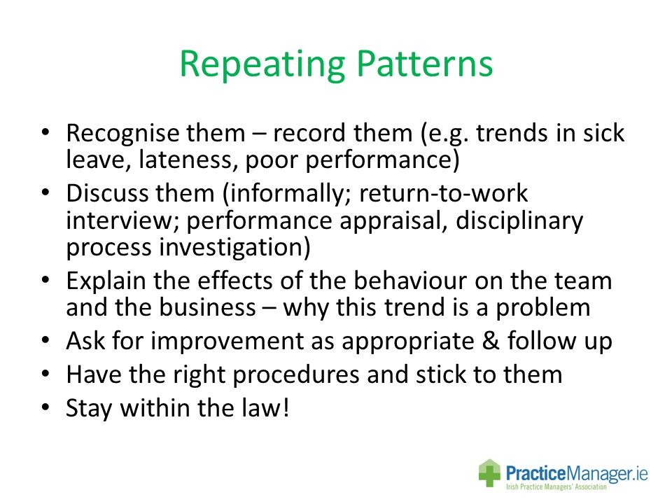 Repeating Patterns Recognise them – record them (e.g.