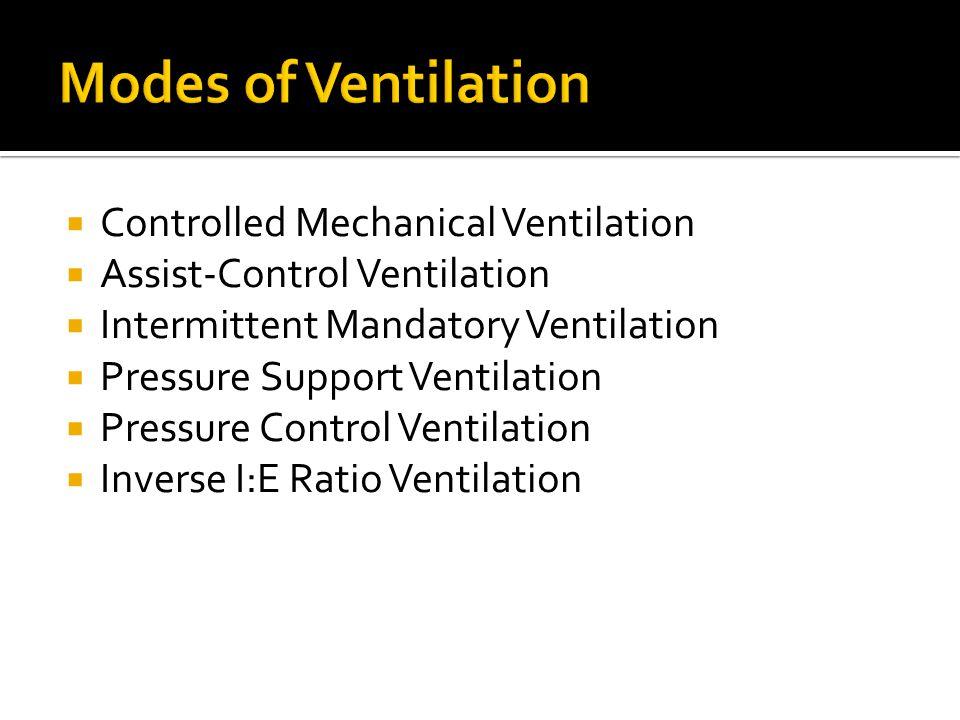  Controlled Mechanical Ventilation  Assist-Control Ventilation  Intermittent Mandatory Ventilation  Pressure Support Ventilation  Pressure Contro
