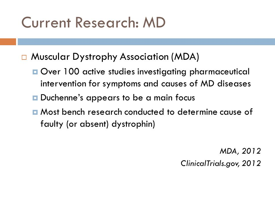 Current Research: MD  Muscular Dystrophy Association (MDA)  Over 100 active studies investigating pharmaceutical intervention for symptoms and causes of MD diseases  Duchenne's appears to be a main focus  Most bench research conducted to determine cause of faulty (or absent) dystrophin) MDA, 2012 ClinicalTrials.gov, 2012