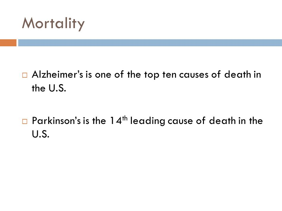 Mortality  Alzheimer's is one of the top ten causes of death in the U.S.