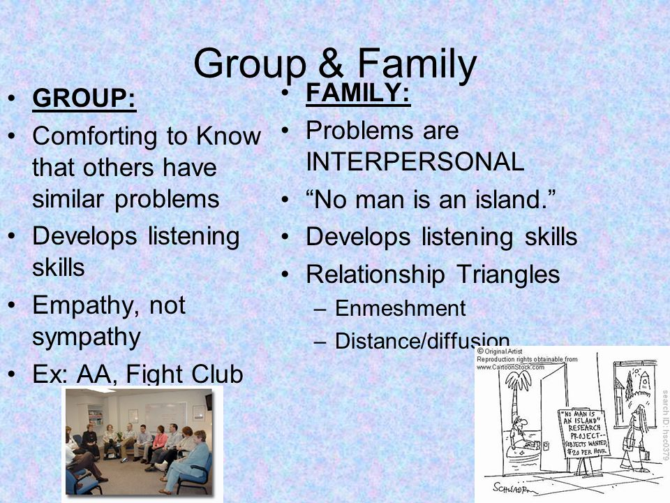 Group & Family GROUP: Comforting to Know that others have similar problems Develops listening skills Empathy, not sympathy Ex: AA, Fight Club FAMILY: Problems are INTERPERSONAL No man is an island. Develops listening skills Relationship Triangles –Enmeshment –Distance/diffusion