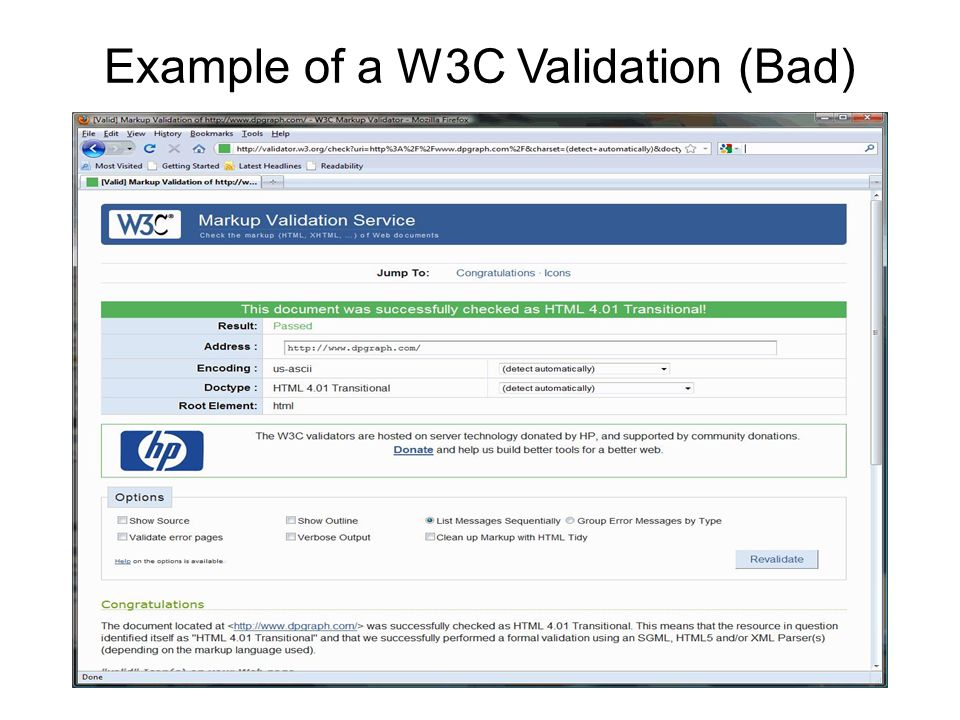 Example of a W3C Validation (Bad)