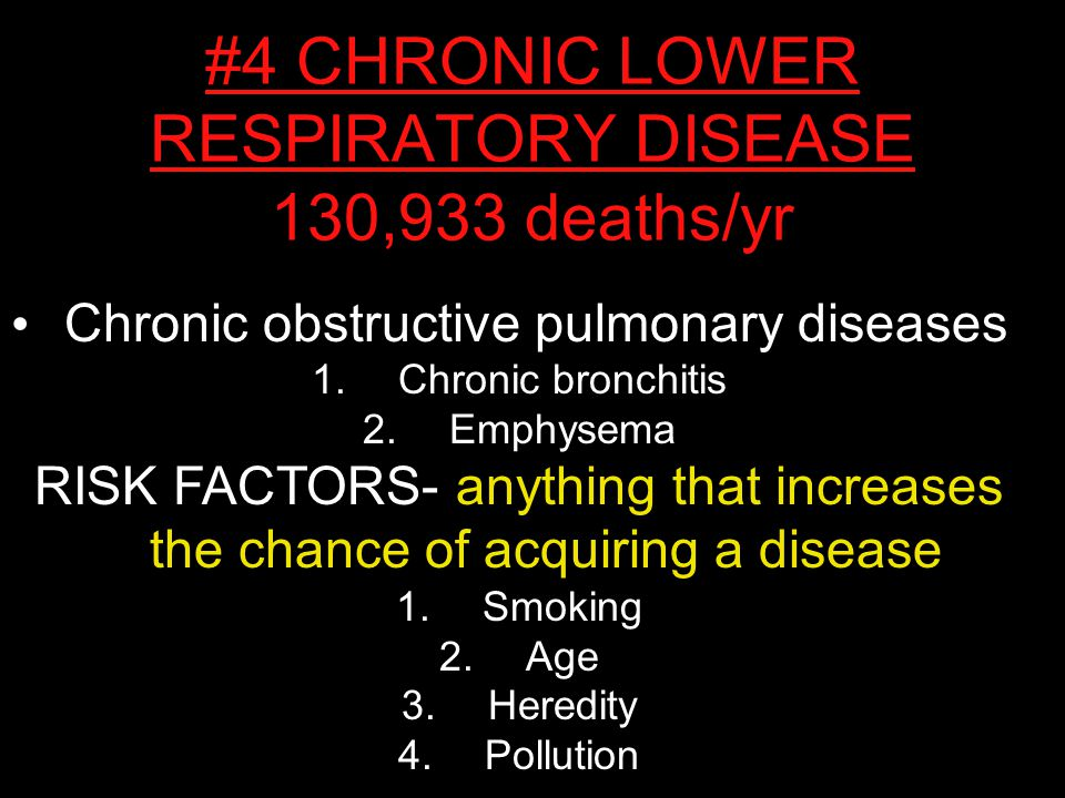 Chronic obstructive pulmonary diseases 1.Chronic bronchitis 2.Emphysema RISK FACTORS- anything that increases the chance of acquiring a disease 1.Smoking 2.Age 3.Heredity 4.Pollution #4 CHRONIC LOWER RESPIRATORY DISEASE 130,933 deaths/yr