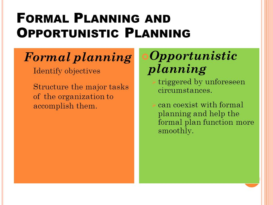 F ORMAL P LANNING AND O PPORTUNISTIC P LANNING Formal planning IIdentify objectives SStructure the major tasks ofthe organization to accomplish them.